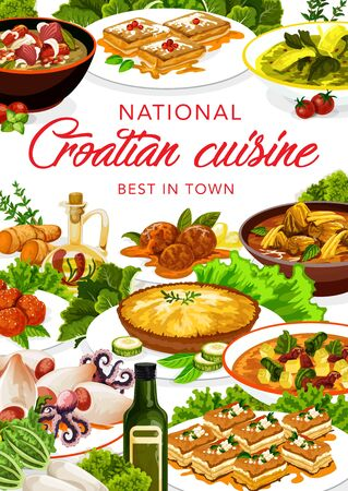 Croatian cuisine restaurant, vector menu cover, Croatia national authentic food dishes. Croatian cuisine istrian soup iota, krempita and donut pastry desserts, lamb with sauerkraut and seafood squids