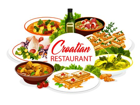 Croatian cuisine restaurant food national dishes, vector menu cover. Croatia authentic meals, Zagorsky strukli, green soup and krempita dessert, lamb with sauerkraut, squids with potatoes and spinach
