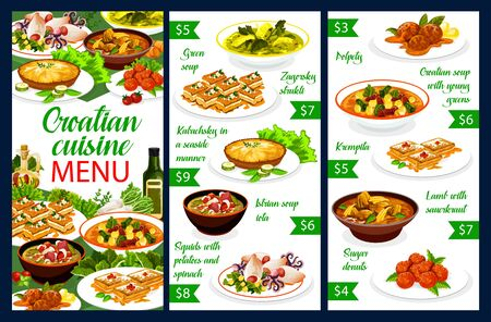 Croatian cuisine, restaurant menu and traditional Southeast Europe food. Croatian national meals and dishes green soup, polpety and kremptia, lamb with sauerkraut and squids with potatoes and spinach
