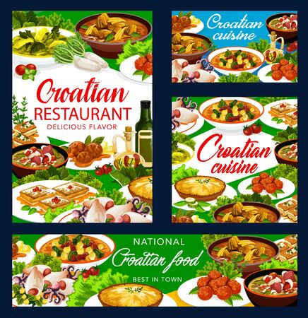 Croatian cuisine national food vector banners and posters, Croatia authentic restaurant menu. Croatian soup with young greens, kabachsky in seaside manner and polpety, sugar donut and krempita pastry