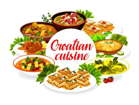 Croatian cuisine restaurant menu, traditional breakfast, lunch and dinner food meals and dishes. Southeast Europe authentic Croatian meat, seafood and soups, salads and pastry desserts Illustration