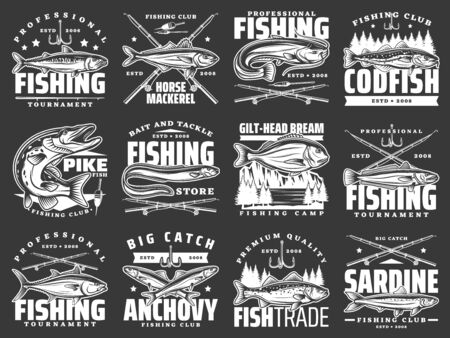 Fishing club badges, big fish catch tournaments and fishery market vector icons. Fisherman rod, hook and lures for river pike, ocean horse mackerel, tuna and bream, sardine and anchovy fishing