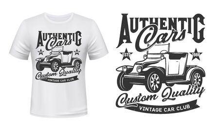 Retro cars club and vintage rally vehicles club, vector icon ant t-shirt grunge print template. Custom quality garage, rarity and old automobiles racing tournament sign with ribbon and stars Illustration