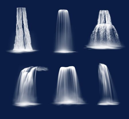 Waterfalls and water fall cascades realistic vector design of mountain river streams falling down with splashes, fog or mist and drops. Ledge, plunge and horsetail waterfalls on blue background Vecteurs