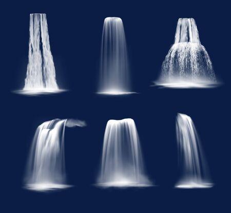 Cascades et cascades d'eau conception vectorielle réaliste de ruisseaux de montagne tombant avec des éclaboussures, du brouillard ou de la brume et des gouttes. Cascades de corniche, de plongeon et de prêle sur fond bleu Vecteurs