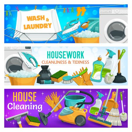 House cleaning, laundry and home washing, vector housework banners. Vacuum cleaner, washing machine and iron, window glass sprayer and scraper, floor mopping and toilet brush, detergent and sponge Illustration