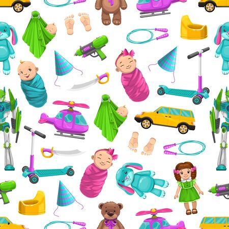 Newborn kids toys, vector seamless pattern background. Boy and girl baby in swaddle, foot prints, dolls and cars, helicopter and robot, birthday cap and plush bear toys seamless pattern 向量圖像