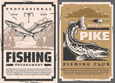 Fishing club and fisher big fish catch tournament, vector retro vintage posters. Lake pike and perch fishing, lures and tackles, rod hooks and floater Çizim
