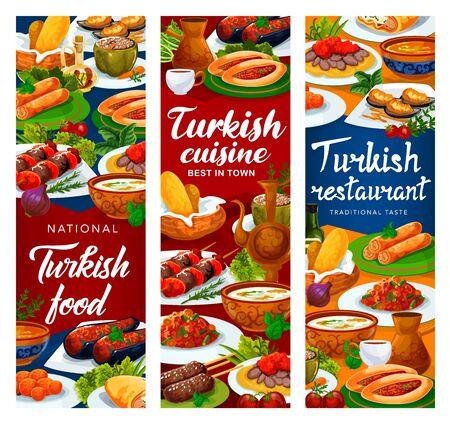 Turkish cuisine restaurant vector banners, Turkey national food dishes menu. Authentic Turkish traditional red lentil soup, iskender and shish kebab, lamb kofte, fried carrot balls and imam bajaldi Ilustração