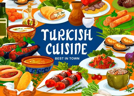 Turkish cuisine food, meals, drinks and desserts, vector restaurant menu. Turkish iskender kebab meat and lamb kofte, red lentil soup and dolma green pepper, coffee and pie of scalded cakes 向量圖像