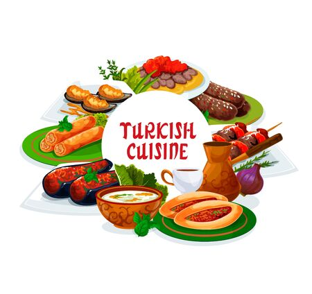 Turkish cuisine restaurant vector menu cover, Turkey national food dishes. Authentic Turkish traditional meal iskender and shish kebab meat, lamb kofte, mussels in batter, red lentil soup and pastry 向量圖像