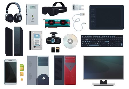 Electronic gadgets, digital technology devices and computer appliances, vector items. Mobile phone SIM cards and charger, PC monitor and stylus pad voice recorder, hard disk and micro SD memory card Ilustração