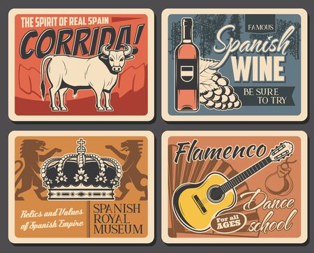 Spain travel and traditional culture tourism, vector vintage retro posters. Spanish traditions and landmarks, Madrid corrida, flamenco dance school, Spanish royal museum and wine tasting tours