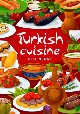 Turkish cuisine restaurant menu, Turkey national food fishes vector poster. Turkish traditional iskender and shish kebab meat, imam bajaldi, red lentil soup and tinian beans with vegetables