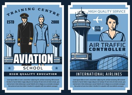 Aviation school, airplane pilots and flight attendants training, vector vintage posters. Airport handling service workers and air traffic controller, professional aviation transport education