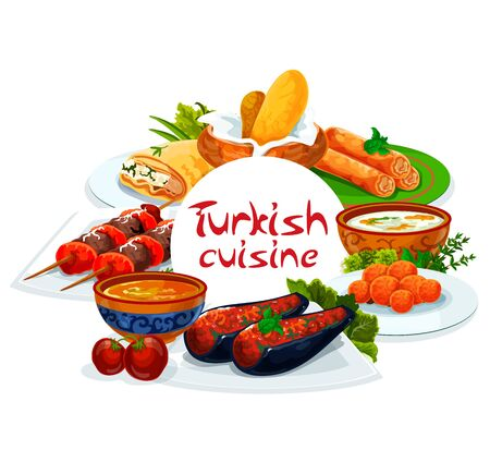 Turkish cuisine, vector Turkey authentic food restaurant menu, traditional dishes. Turkish shish kebab skewers, pie of scalded cakes, red lentil and illa soup, imam bajaldi and cakes with melted milk 向量圖像