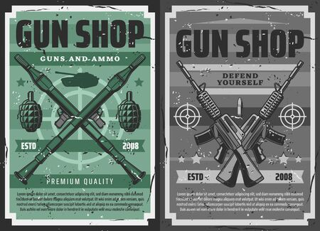 Gun shop and military ammunition weapon store, vector retro vintage posters. Defense weaponry, shooting range machine guns, bullets and bomb launchers, grenades and bazookas, tanks and revolvers Çizim