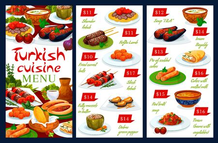 Turkish cuisine national food vector authentic restaurant menu. Turkish iskender and shish kebab, lamb meat kofte, fried carrot balls and fatty mussels in batter, green pepper dolma and soup illa