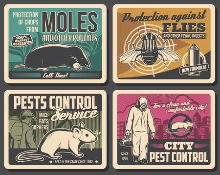 Pest control service, vector retro posters, insects disinsection, rodents extermination and deratization. Agriculture, city and domestic pest control disinfection against moles, rats, mice and flies
