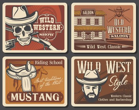 Wild West vector vintage posters, American Western horse rode show and Texas saloon. Wild West barber shop salon signs, riding school and skull in bandit hat with revolver guns