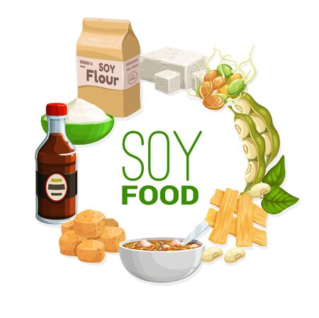 Soy food products and soybean vegetarian food, vector meals. Organic vegan soy nutrition meals, tofu skin tempeh, soybean milk, flour and butter, Asian cuisine miso soup