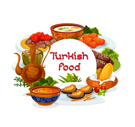 Turkish cuisine restaurant menu, vector Turkey dishes and meals food. Authentic Turkish red lentil and Illa soup, traditional iskender and shish kebab, lamb kofte and fatty mussels in batter