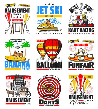 Amusement park entertainment and funfair attractions, vector icons. Hot air balloon and kites festival, kart racing and summer sea banana rides, jet ski and carousels, family leisure amusement park