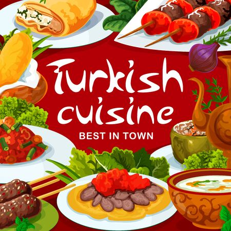 Turkish cuisine food restaurant menu, vector traditional dishes and meals. Turkish iskender kebab meat and lamb kofte, Tinian beans with vegetables, illa soup and dolma green pepper 向量圖像