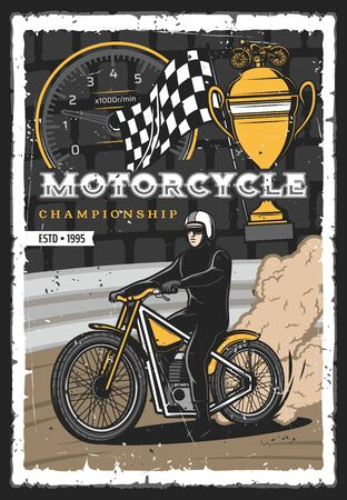 Motorcycle races championship, motocross sport cup tournament, vector grunge poster. Motorcycle and bikes racing rally, speedometer, start or finish flag and bike rider in helmet