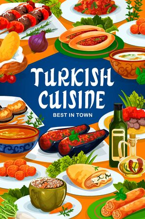 Turkish cuisine food, vector restaurant menu traditional dishes and meals. Turkish national iskender kebab meat, lamb kofter, illa and red lentils soup, fatty mussels in batter and fried carrot balls