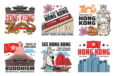 Hong Kong travel landmarks, culture and history city sightseeing tours, tourism agency vector icons. Welcome to Hong Kong, Buddhist temples and pagodas, peak tram and red sails boat on river