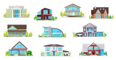 Real estate private buildings vector icons. Isolated villas, cottages and bungalow. Cartoon modern, classic design residential homes, village real estate townhouses residence apartments, property set 写真素材 - 145639244
