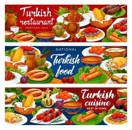 Turkish cuisine banners, Turkey national food restaurant vector menu. Authentic Turkish traditional meal dishes, iskender and shish kebab meat, lamb kofte, fatty mussels in batter and lentil soup
