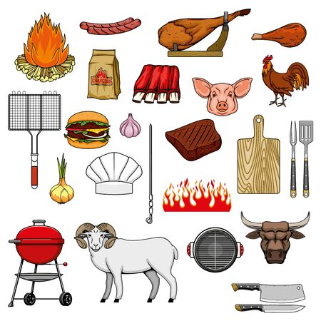 Barbecue grill meat food and grill picnic equipment items, vector icons. BBQ charcoal and fire, beef steak, sausage and burger, lamb ribs and cooking spices, barbeque hatchet, fork and cutting board Stock Illustratie