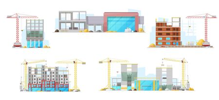 Residential houses and city offices buildings in process, vector construction site icons. Unfinished houses and skyscrapers, real estate building machinery, winch cranes and trucks