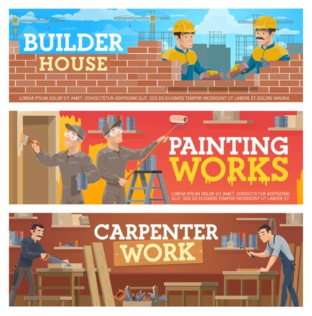 House construction, home renovation and remodeling, vector banners. House building workers bricklaying at construction site, walls painting and furniture carpentry work tools