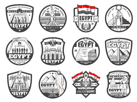 Egypt travel, culture and Cairo ancient landmarks, travel agency and city tours vector icons. Giza pyramids sightseeing tours. Ancient Egypt Gods, pyramids treasure museum and antiquity souvenirs shop Vecteurs