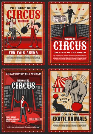 Circus and funfair arena show, vector vintage retro posters. Welcome to circus shapito performance with seal juggling and elephant balancing on ball, strongman and tight rope walking equilibrist