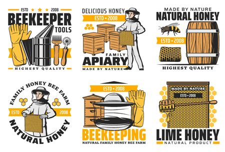 Honey and beekeeping farm, vector farm made product icons. Family apiary agriculture production and beekeeper tools shop labels, beehive honeycomb, wooden barrel and honey splash drops Vecteurs