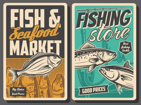 Fishing and seafood market, vector vintage retro posters. Fishing equipment rods and lures store and fisher catch gilt-head bream, sea salmon, trout and ocean tuna