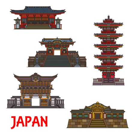 Japanese architecture landmarks, temples and famous buildings, vector icons. Nikko Futarasan shrine pagodas, Omotemon, Yomeimon and Karamon gates, historic Buddhism traditional symbols