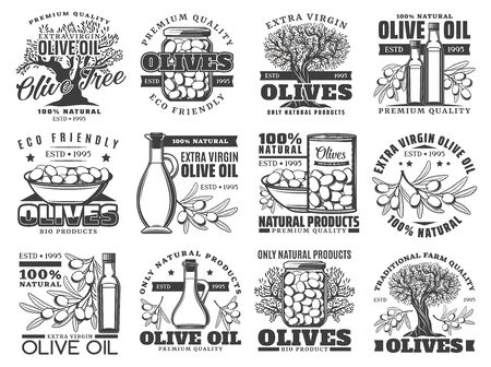 Olive oil, vector labels, olives farm products icons. Extra virgin olive oil in bottle and jug, pickled green and black olives, natural organic premium quality food