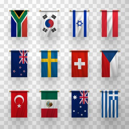 Realistic flags icons Australia, New Zealand, South Korea and Sweden, Switzerland. Czech Republic, Austria, Turkey, Mexico. South Africa, Israel, Greece isolated national countries 3d flags Ilustrace