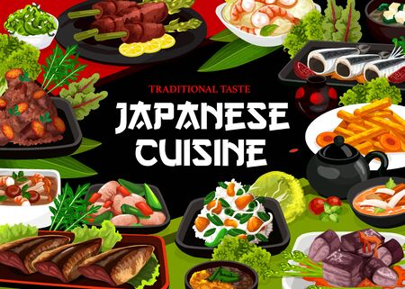 Japanese cuisine, authentic restaurant vector food menu. Japanese traditional vinegar potatoes, pork in large chinks and fried iwashi fish, boiled potato babat with dike and carrots in miso broth