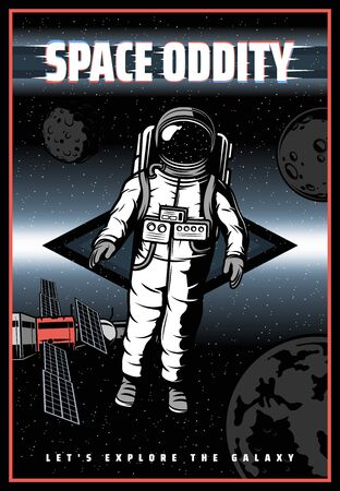 Astronaut in outer space, vector retro poster with glitch effect. Galaxy universe exploration, astronaut from spacecraft shuttle, satellites, planets and stars on orbit