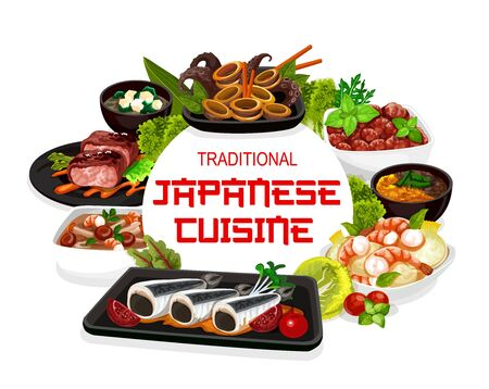 Japanese cuisine traditional food dishes, Japan restaurant menu. Japanese authentic meals meat entree with egg in bowl, fried iwashi fish and boiled shrimps with turnip, miso pork and minced cutlets