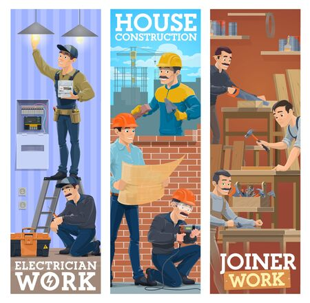 Builder at masonry brickwork, woodwork joiner and electrician worker professions and work tools, vector banners. Electricity technician repair, house construction and renovation carpentry service