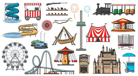Amusement park attractions and rides, vector icons. Funfair carnival entertainment, aquapark water slides, karting and Ferris wheel, carousels, slot machine, fireworks and ice cream vendor cart