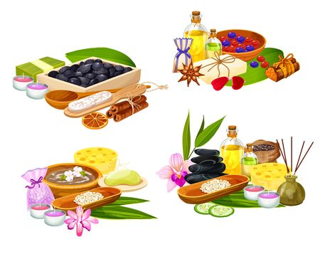 SPA salon, massage and body care wellness bathing, vector items. Thai oriental spa essential oils, aromatherapy candles, massage stones and herbal therapy treatments, bamboo sponge, palm leaf and soap Vettoriali