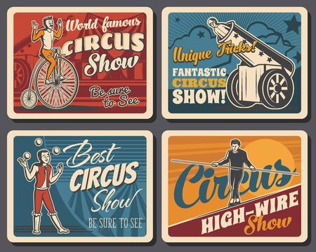 Circus big top chapiteau or shapito, funfair carnival show. Vector retro poster of big top circus performance with man bullet in cannon, unicycle ride, high-wire walking equilibrist and juggler